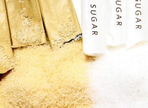 Brown sugar and white sugar