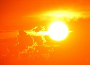 The Sun in the sky, sunset