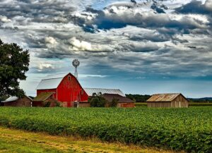 Typical North American farm. Landscape